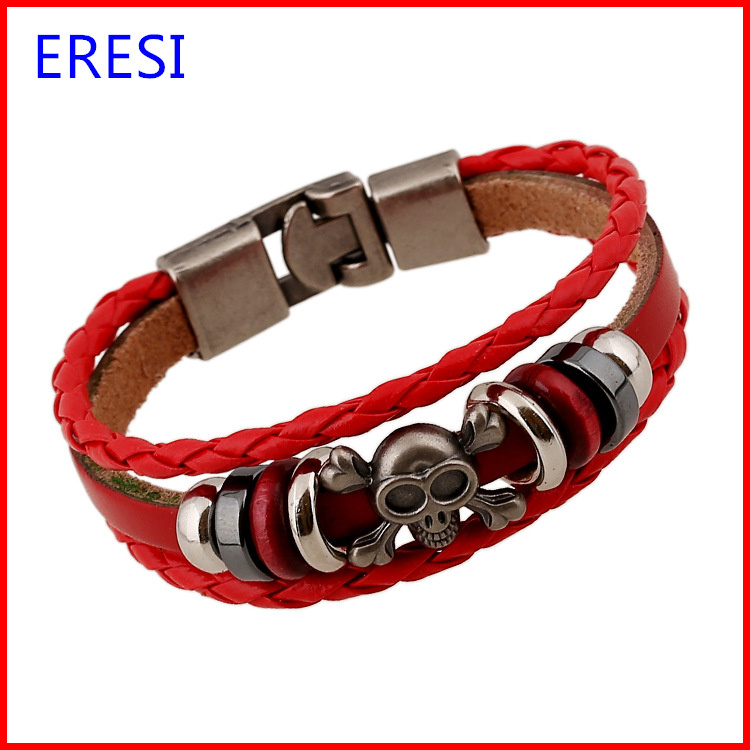 Made in China Fashion Red Leather Bracelet With Vintage Europe Skull Charm Bracelet