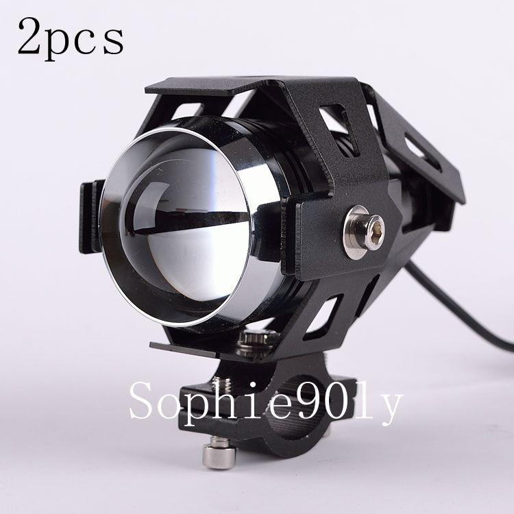2PCS New Black Cree U5 LED Motocycle Spot Driving Fog Light For Honda Spotlight