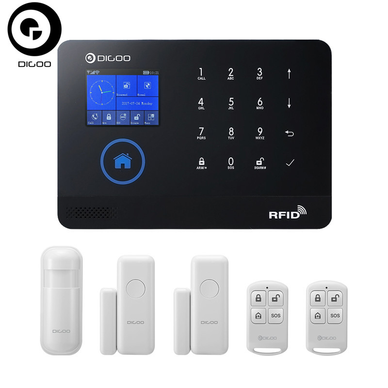 DIGOO DG-HOSA 3G 433MHz Wireless Black GSM&WIFI DIY Smart Home Security Alarm Systems Kits Infrared Motion Sensor Door Magnetism