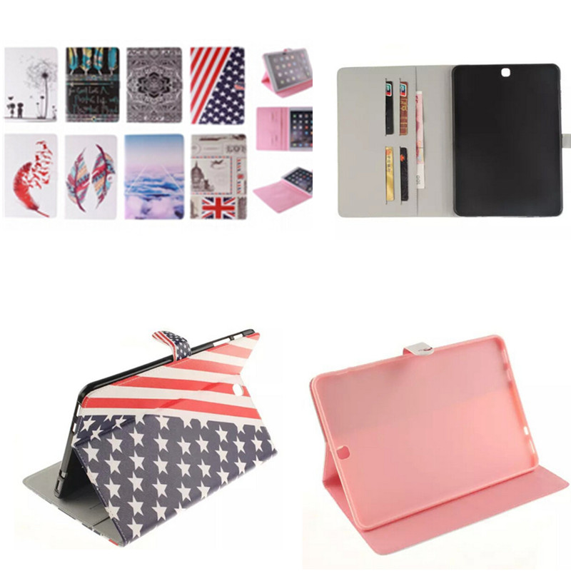 TX Colorful Cover PU Leather Case for Samsung Galaxy Tab S2 9.7 T815 T810 SM-T815 T813 T819 Tablet Stand with Card Holder luxury pu leather cover case for samsung galaxy tab s2 9 7 t810 t815 sm t810 flip stand for samsung galaxy s2 t815 cases kf469a