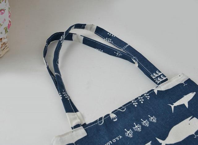 Whale Print Cotton Beach Bag 4
