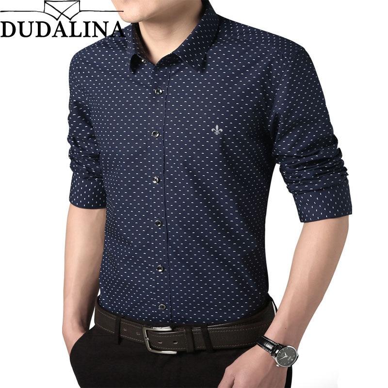 Dudalina Shirt Male 2019 Long Sleeve Men Polka Dot Shirt Casual High Quality Business Man Shirt Slim Fit Designer Dress