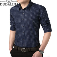 Dudalina Shirt Male 2019 Long Sleeve Men Polka Dot Shirt Casual High Quality Business Man Shirt Slim Fit Designer Dress