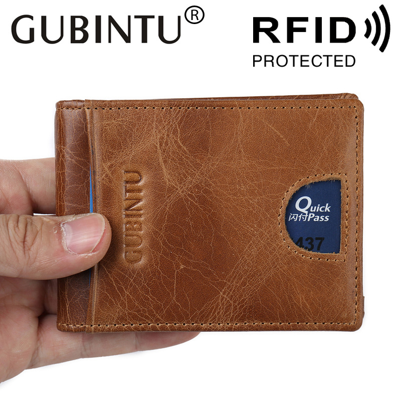 Slim Genuine Leather For Men RFID Wallet Purse Male Money Clip Business Card Pocket Holder Small Kashelek Cuzdan Vallet Partmone slim cash genuine leather women men holder clamp for money clip metal i male female wallet purse with card bill kashelek cateira