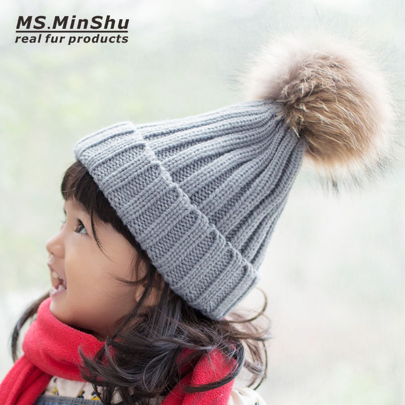 Thick Skullcap Children Beanie Hat with Real Fur Pompom Raccoon Fox Fur Ball Knit Child Cotton Cap Hat Kids Cap Big Fur Top 10cm real fox fur ball keychain on the keys fluffy real fur pompom car for couples fur ball key chains fur cap beanie