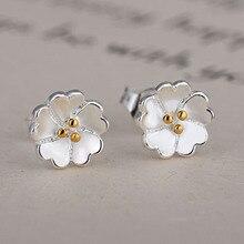 Jemmin Girls Lovely Flower Shape Earrings Party Prom Gift 925 Sterling Silver Stud Earrings for Women Pearl Earrings