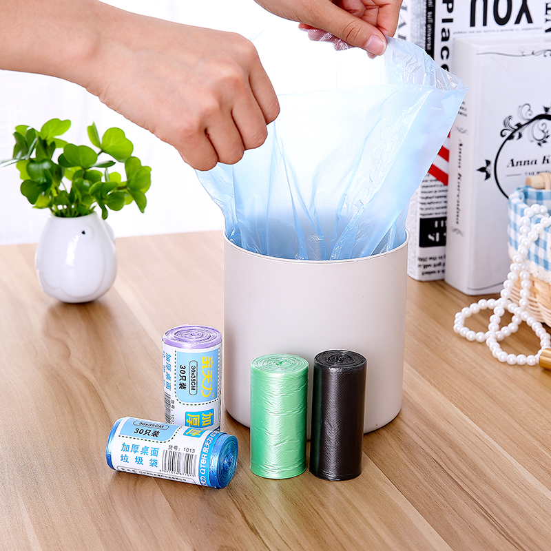 Trash Bags Thicken Small Garbage Bag Color Household Cleaning Desktop Car Mini Disposable Trash Can Plastic Bag 30*35cm