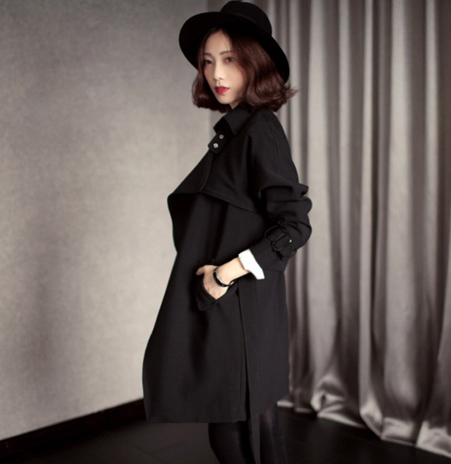 Fashion Long Trench Coat For Women Autumn Spring Trench Coats Outerwear Loose Coat Gabardina Mujer Trench JX801