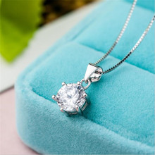 Best Gift Necklace For Women Crystal Six Claw Cubic Zirconia Silver Plated Necklaces & Pendants Jewelry Fashion Free Shipping
