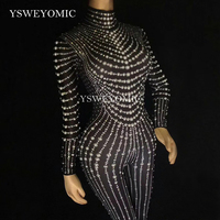 YSWEYOMIC Sexy Sparkly Pearl Crystal Mesh Jumpsuits Sexy Rhinestones Bodysuit Stage Dance Wear Outfit Celebrate Shining Costume