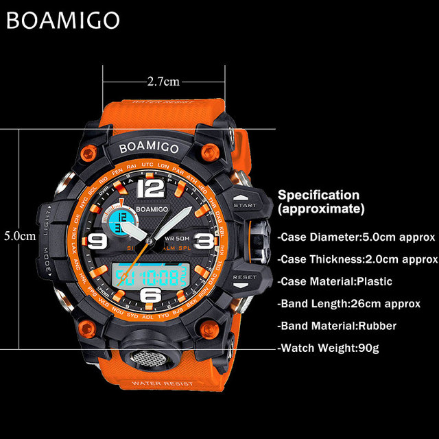 BOAMIGO brand men sports watches dual display analog digital LED Electronic quartz watches 50M waterproof swimming watch F5100