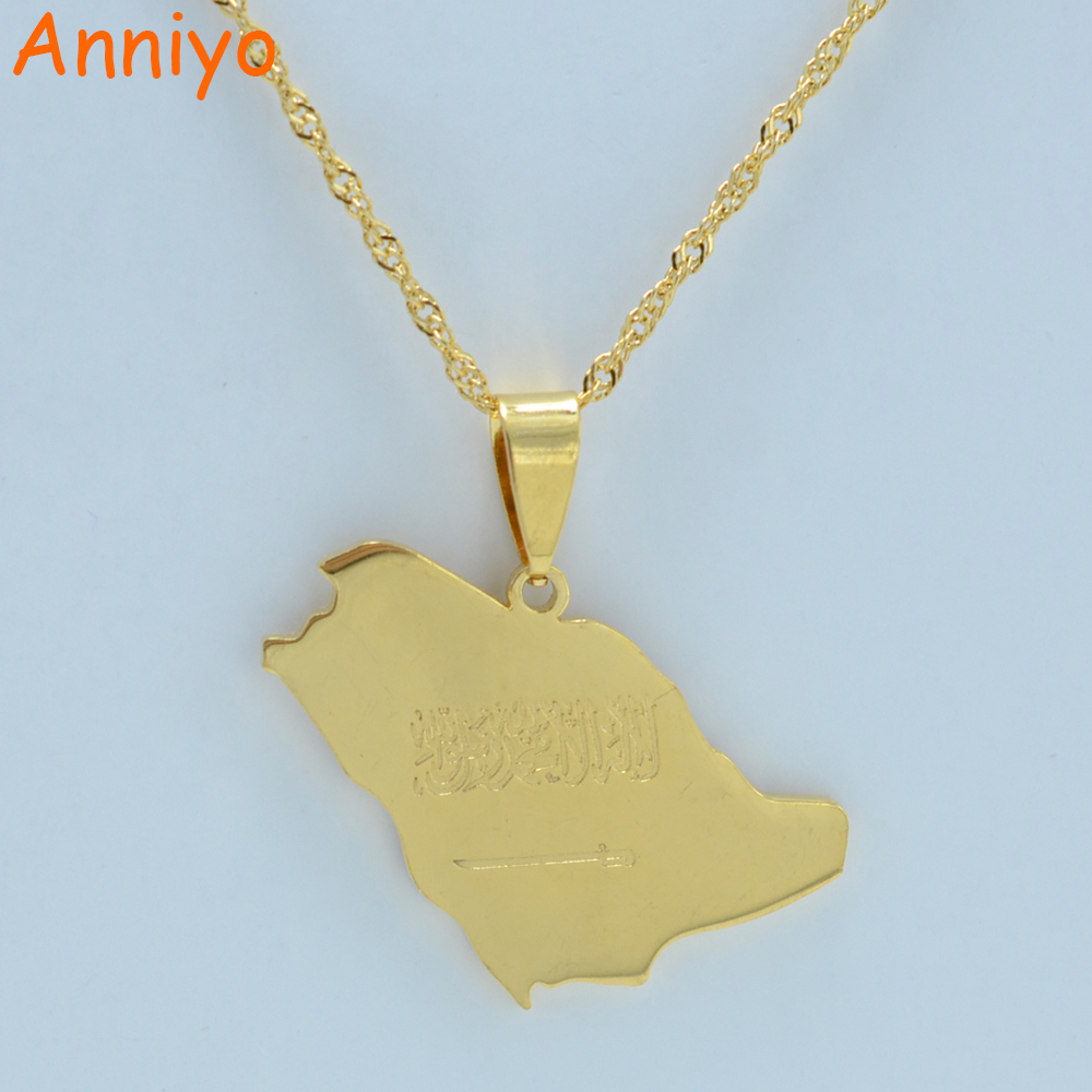 Anniyo Saudi Arabia Map Flag Gold Color Charm Pendant Necklace Kingdom of Saudi Arabia Jewelry Women Girl, #001321 bt 158 aluminium alloy 1460mm camera video monopod professional extendable tripod slr dslr holder stand with carry bag