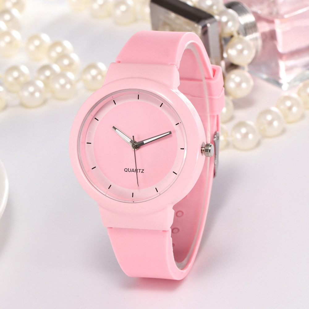 High Quality Fashion Women Watch Casual Sports Style Student Watch Ladies Silicone Strap Quartz Wrist Watch Round Gift Clock #S