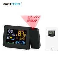 Protmex PT3391 Station météo d'horloge de Projection avec capteur de température coloré affichage LCD prévision météo
