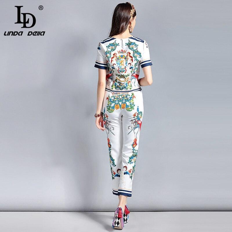 Pantalon De Ensembles Pièce Della Linda Art Piste Imprimé 2 Multi Designer Vêtements Ld Ensemble Femmes Mode Pull Long Motif Top Rétro PH1zBwnq