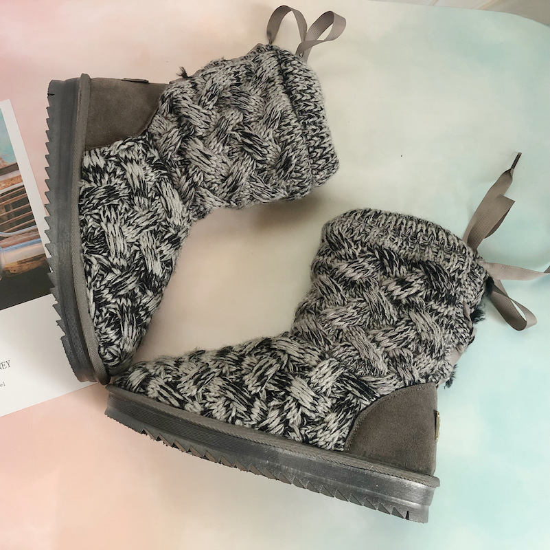 Women Boots Crochet Knitting Solid Color Back Ribbon Lace Riband Flat Heel 2018 New Lady Fashion Booties Winter Shoes Gray 35-40 цена 2017