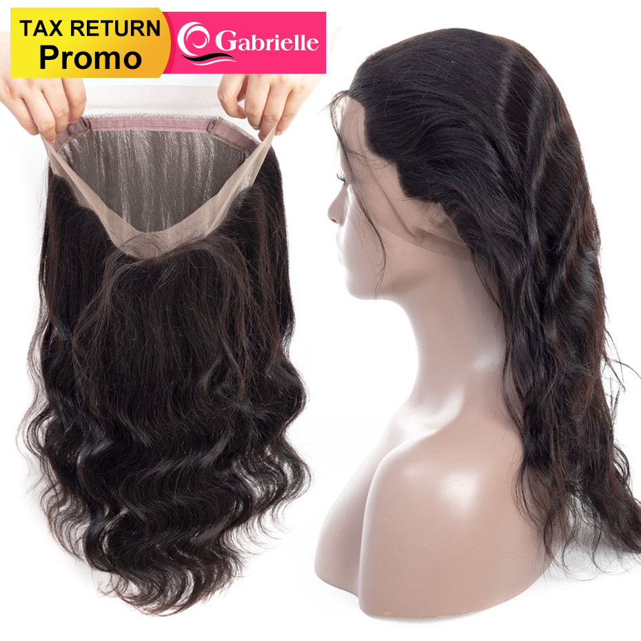 Gabrielle Hair Malaysian Body Wave Pre Plucked 360 Lace Frontal Closure with Baby Hair Non Remy Human Hair Frontal Free Shipping