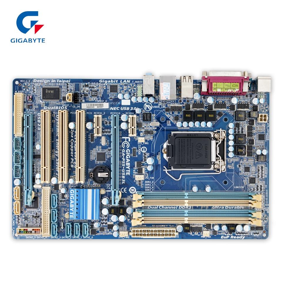 Gigabyte GA-P55-USB3L Original Used Desktop Motherboard P55-USB3L P55 LGA 1156 i3 i5 i7 DDR3 16G USB3.0 ATX p55 gd55 p55 all solid state luxury board 1156 motherboard support i5 i7