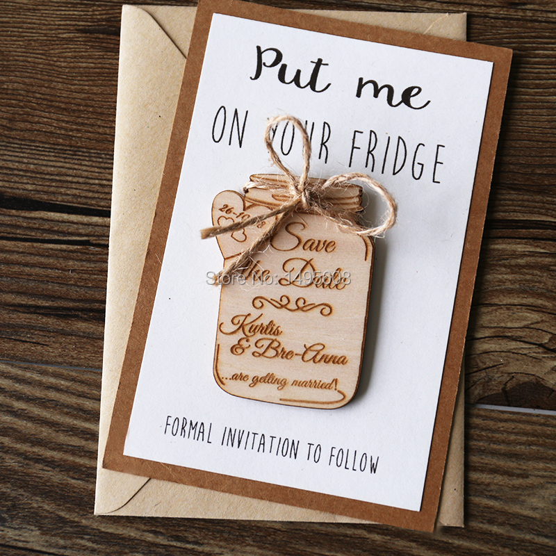 Mason Jar Save The Date Magnet Wedding Favors Wooden Magnet