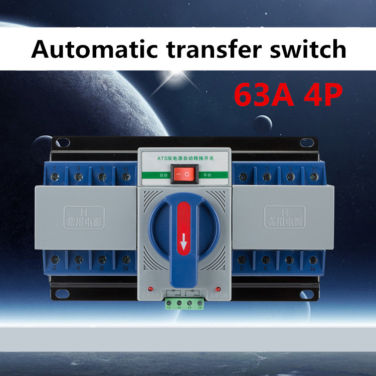 4P 63A 380V MCB type Dual Power Automatic transfer switch ATS BLUE COLOR 63a 4p mcb type automatic transfer switch intelligent dual power ats