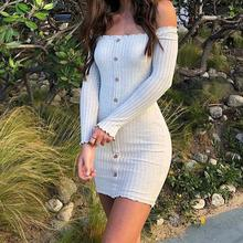 Fashion Long Sleeve Button Slash Neck Off Shoulder Casual Party Mini Dresses