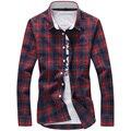 Los nuevos 2016 hombres de algodón boutique de moda rejilla del ocio camisas de manga larga/de Los Hombres de gran tamaño de celosía camisas de tela escocesa ocasionales S-5XL