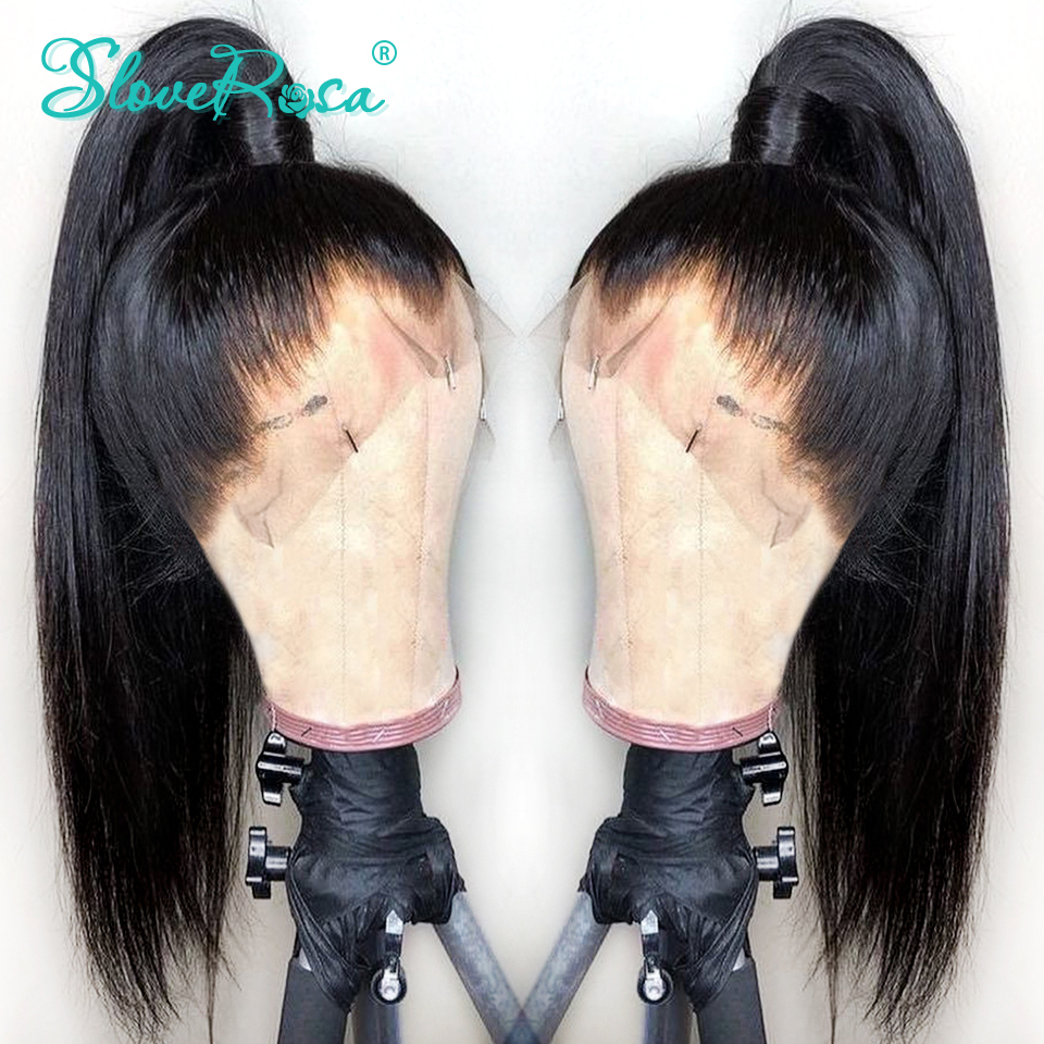Lace Front Human Hair Wigs For Black Women Brazilian Remy Straight Hair Wigs Pre Plucked Bleached