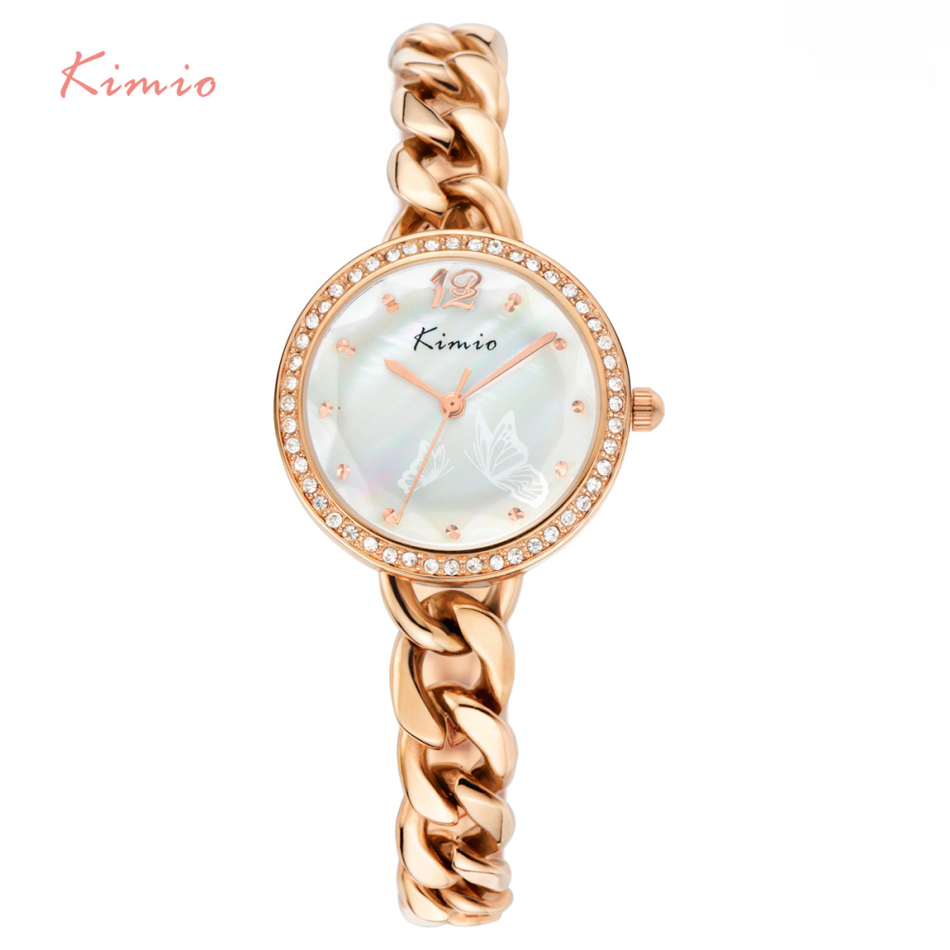 KIMIO Pearl Butterfly Pattern Dial Hand Chain Strap Diamond Bracelet Quartz Famous Brand Watches Women Wrist