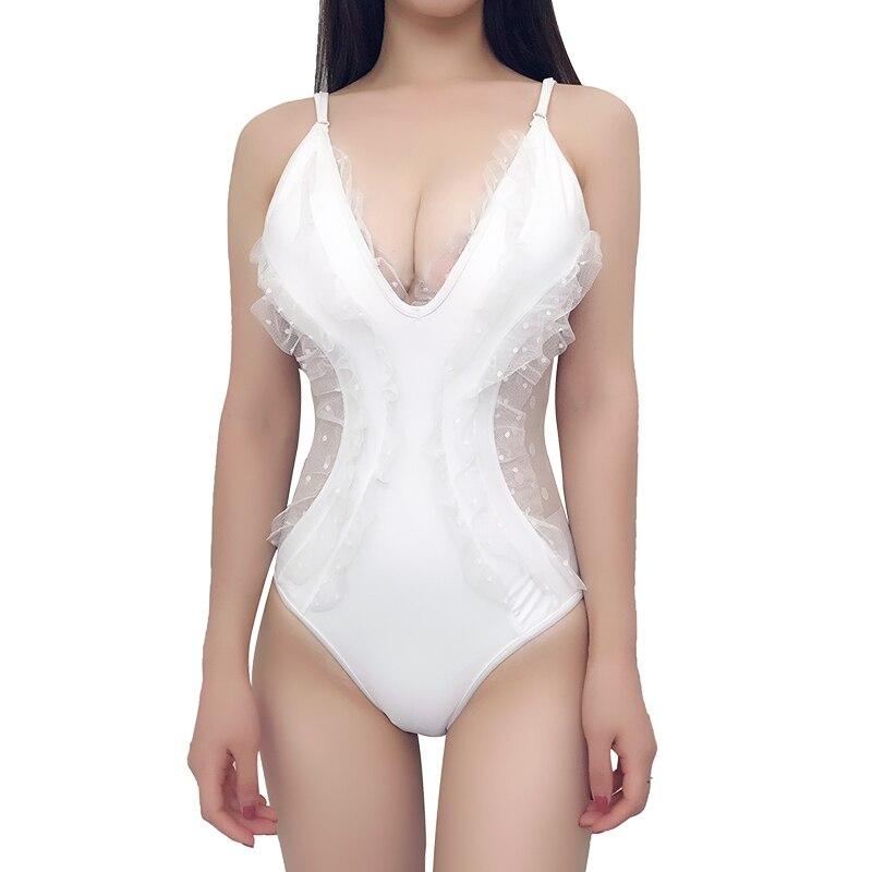 New Women Sexy one piece swimsuit Shoulder Straps Bathing suit Ruffle Lace Rim Monokini BathingSuit Lace maillot de bain femme
