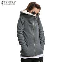 ZANZEA Plus Size 2016 Women Fleece Hoodies Sweatshirts Autumn Winter Zipper Design Casual Long Sleeve Hooded