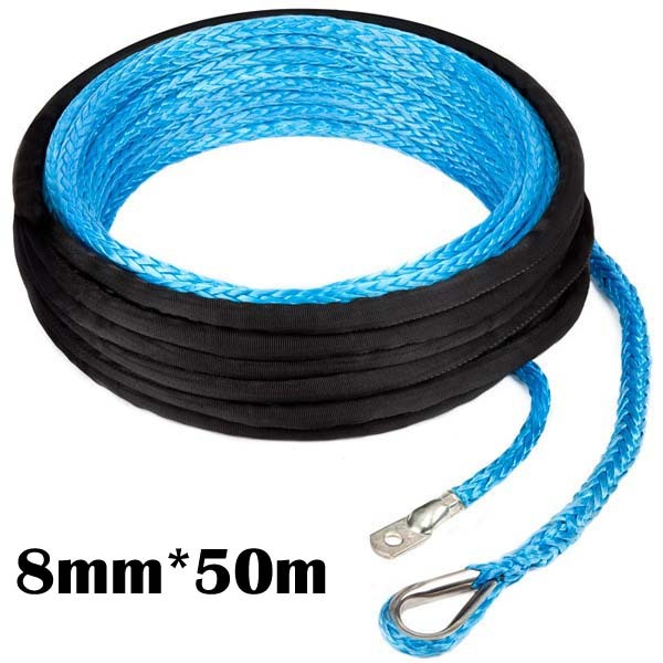 UHMWPE Synthetic Winch Cable/Rope 8MM*50Meter W/T FOR SUV Towing Rope