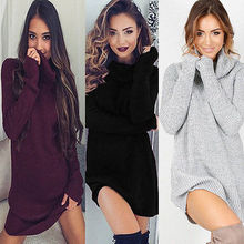 Fashion Womens Autumn Winter Long Sleeve Dresses Knit BodyCon Slim Sexy Mini Dress New