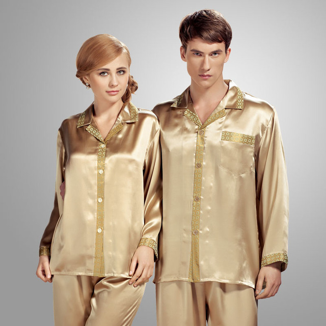 Spring Autumn Couple Pajamas 100% Silk Men Home Furnishing Sleepwear Two Piece Sets Pijama Masculino Pajamas Sets M,L,XL,XXL