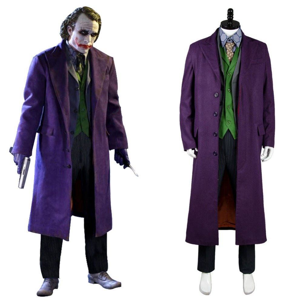 Batman Dark Knight Joker cosplay 6 pcs Costume Set uniform Gabardine trench Coat Version Halloween Carnival for adult men women