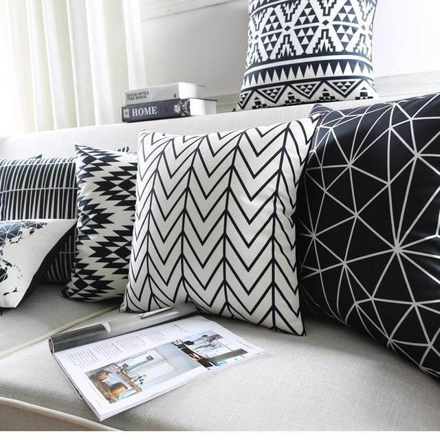 Online shop black and white cushion covers geometric triangles black and white cushion covers geometric triangles stripe world map pillow cover decorative velvet pillow case for sofa seat publicscrutiny Images
