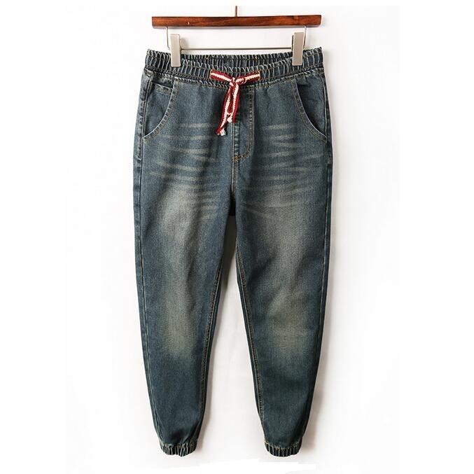 Men Drop Crotch Denim Joggers 2017 Mens Retro Jeans Drawstring Elastic Waist Harem Jean Jogger Pants
