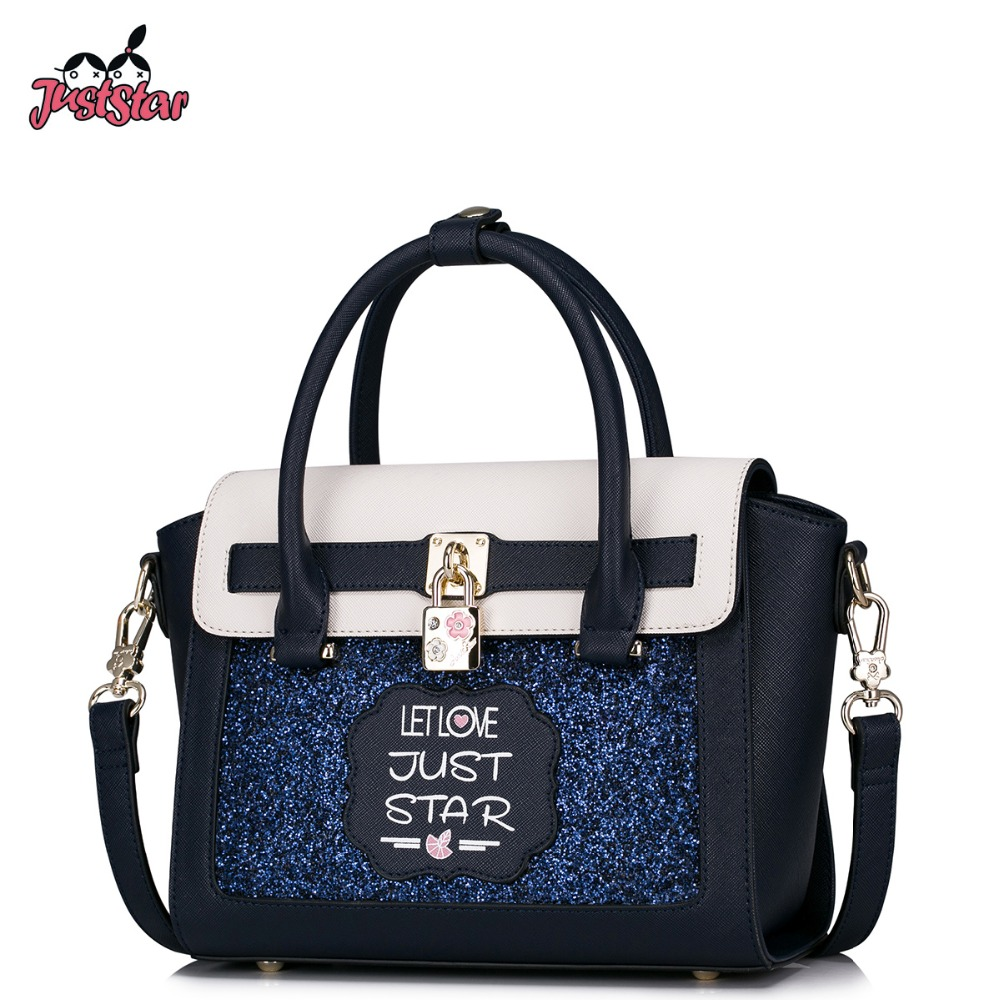 JUST STAR Women's PU Leather Handbags Ladies Fashion Letter Printing Tote Bag Female Patchwork Lock Messenger Bags Brand JZ4283 just star women s pu leather handbags ladies fashion rivet tote bags female cat cute messenger bags brand high quality jz4227