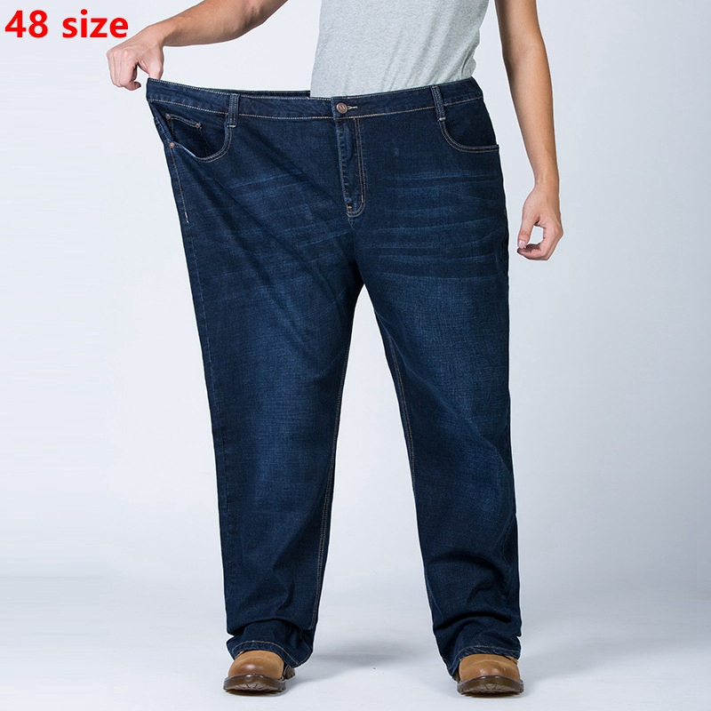 Autumn Large Size Jeans Male Fat High Waist Loose Autumn And Winter 48 Yards Plus Fertilizer XL Men's Trousers