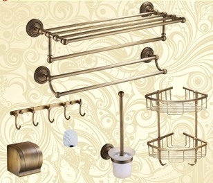 inexpensive bathroom accessories. Luxury Antique Brass Bath Hardware Hanger Set Discount Package Towel Rack  Bar Paper Holder Shelf Hook