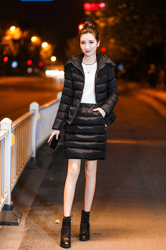 SexeMara Real Shot 2018 Winter New Down Cotton Suit Fashion Suit Female Small Fresh Warm Hooded Two-Piece Elegant Dress (12)