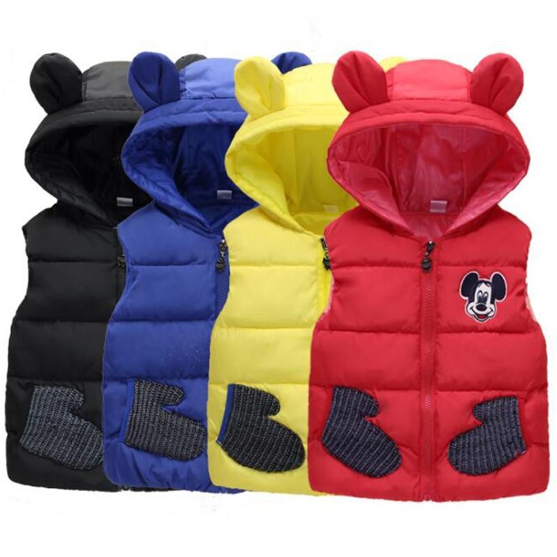 Baby Girls Boys High Quality Parkas Vest Coats Children Clothes Down Jacket Kids Vests Cartoon Giraffe Mickey Minnie Outerwear