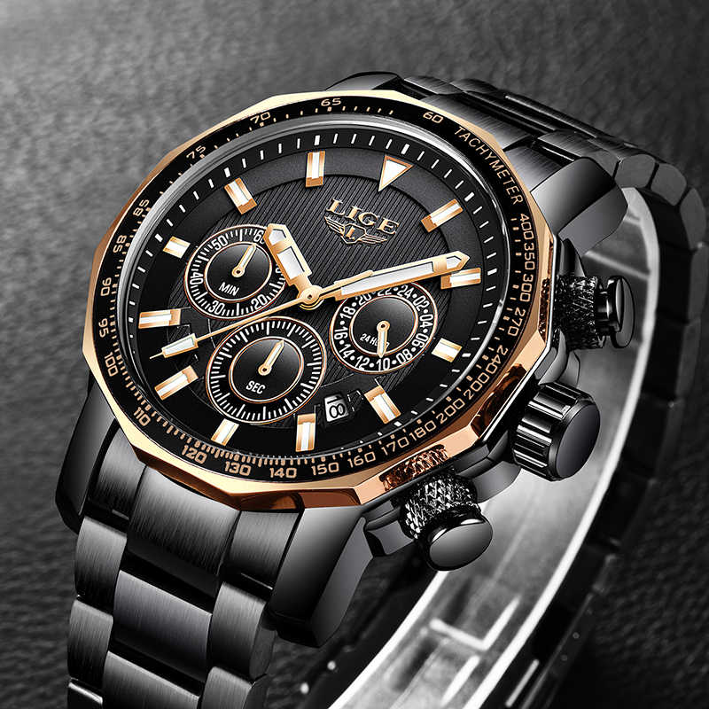 2019 nuevos relojes LIGE para hombres con acero completo marca superior de lujo resistente al agua reloj deportivo militar reloj de cuarzo para hombres reloj Masculino