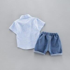 Image 4 - קיץ ילדים פעוט ילד בגדי סט רכב חולצה ג ינס 1 2 3 4 שנים קצר שרוול כותנה חליפת ילדי בגדים בני תלבושת