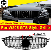 W205 GTS Style ABS Silver Grilles Grills Fit For Sports C180 C200 C250 Sport with Camera Front Grille Without Sign 2015-18