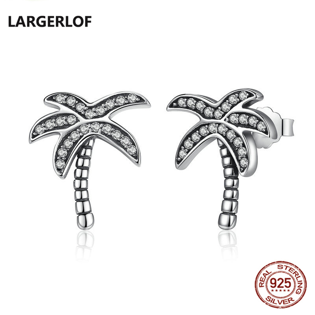Coconut tree Earrings For Women 925 Sterling Silver Earrings Studs One Color White Earrings with Stones Love Jewelry for girls