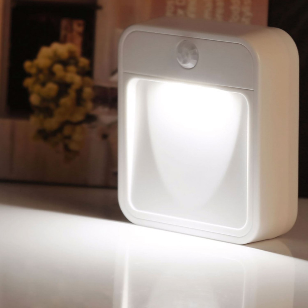 1X Auto PIR Motion Sensor LED Night Light Smart Detector Night Lamp For Corridor Bedroom Closet Wardrobe Stick On Anywhere wireless led wall stick anywhere energy saving human body sensor motion sensing night light lamp decoration door