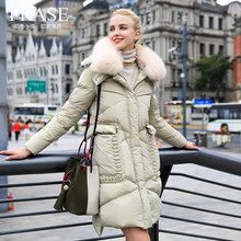 Prase women's 2016 winter large pocket fox fur coat medium-long down female thermal