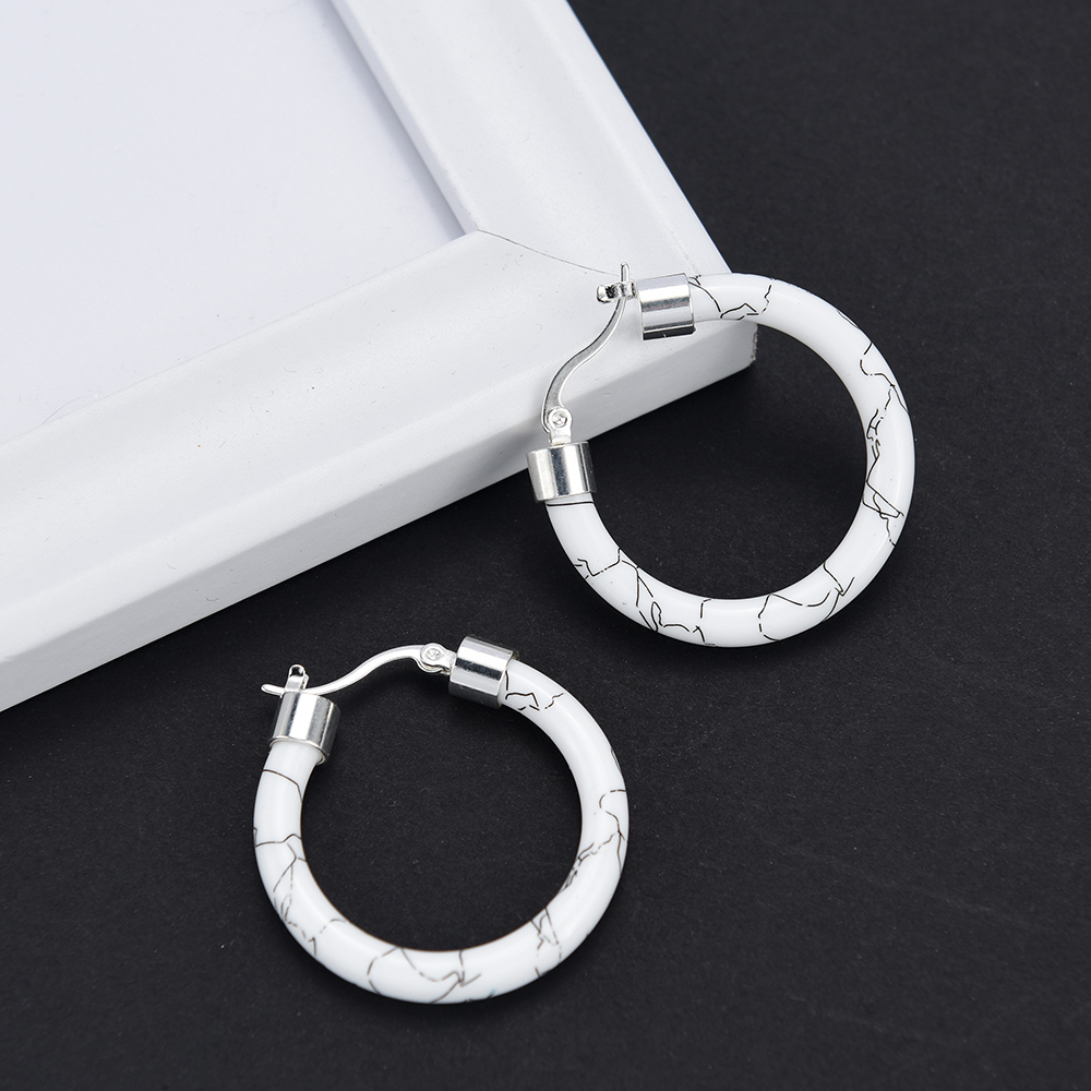 HTB1MS0CUmzqK1RjSZFjq6zlCFXaZ - White/Black/Red/Blue Bohemian Stainless Steel Big Round Circle Hoop Earrings For Women Exaggerated Charms Resin Printing Earring