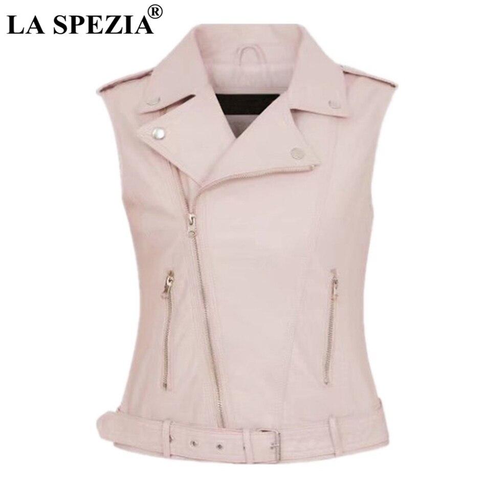 LA SPEZIA Biker Waistcoat Women Pink Streetwear Vest Ladies Belt Faux Leather Punk Zipper Short Female Sleeveless Jackets Black