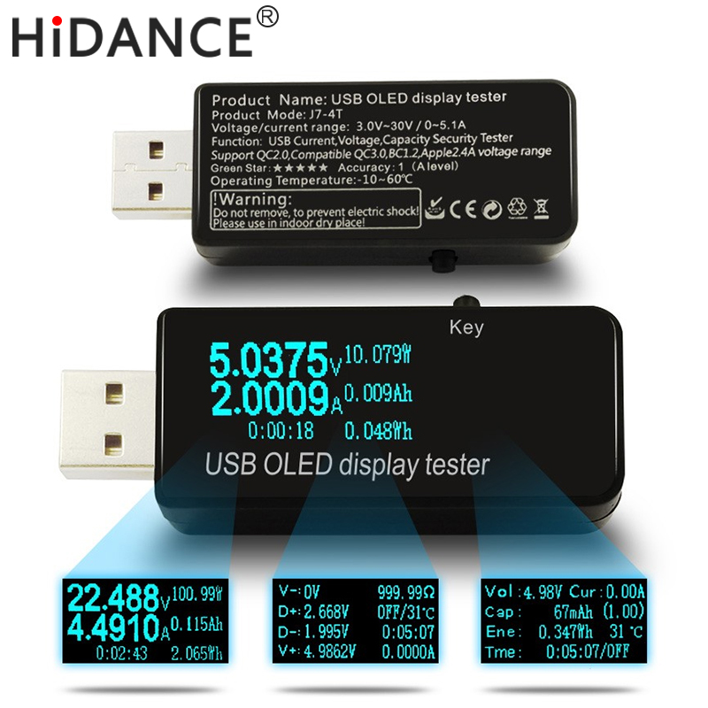 Tester OLED 128x64 USB Woltomierz prądu stałego Napięcie prądu Mierniki Bateria banku zasilania Monitor pojemności qc3.0 Detektor ładowarki telefonu